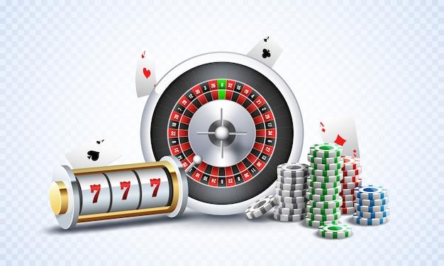 Slot machine realistico con la ruota della roulette