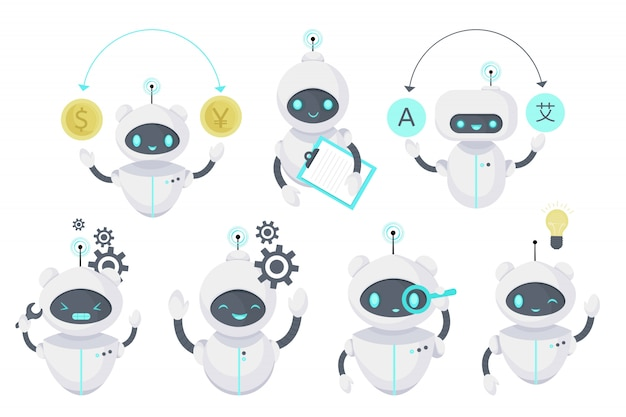 Smart chat bot, illustrazione della tecnologia. assistenza virtuale per robot. intelligenza artificiale. illustrazione piatta del fumetto