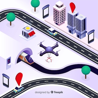 Smart city isometrica innevata