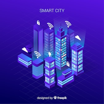 Smart city isometrica sullo sfondo