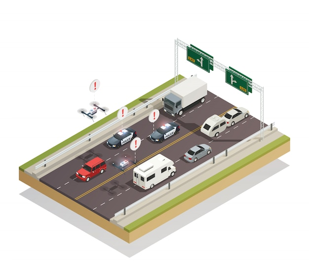 Smart city traffic isometric