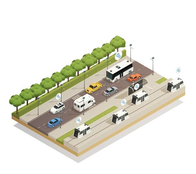 Smart city traffic isometric