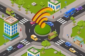 Smart city transport and wifi technology Illustrazione 3D del crocevia del traffico urbano