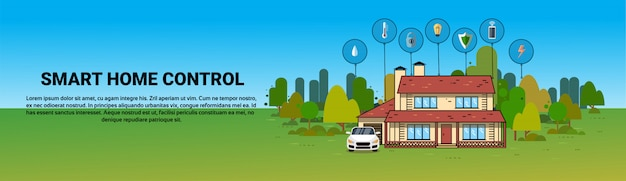 Smart home control system automazione casa moderna tecnologia sistema banner orizzontale