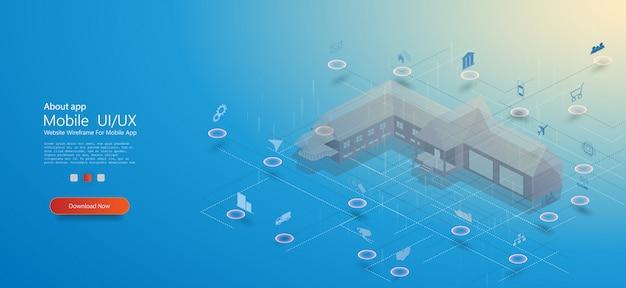 Smart home, ottimo design per qualsiasi scopo. casa intelligente con internet delle cose concetto isometrico. tecnologia smart city