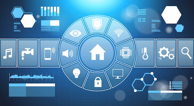Smart home system infographic template banner pannello di controllo con icone modern house automation techn