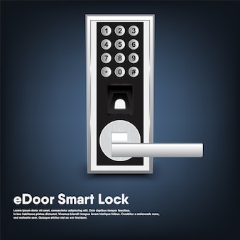 Smart lock of security porta elettronica per ingresso casa, intelligenza automatica tecnologia digitale bloccata con chiave della porta moderna.