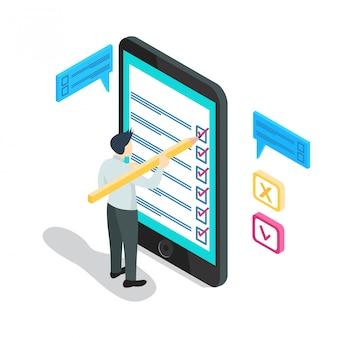 Smart mobile isometrico con liste di controllo