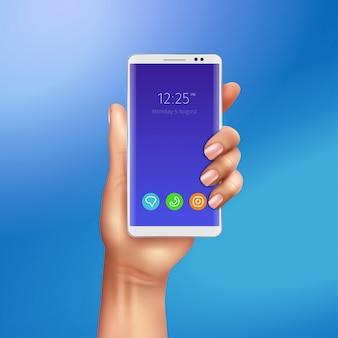 Smart phone bianco in mano femminile sull'illustrazione realistica del fondo blu di pendenza