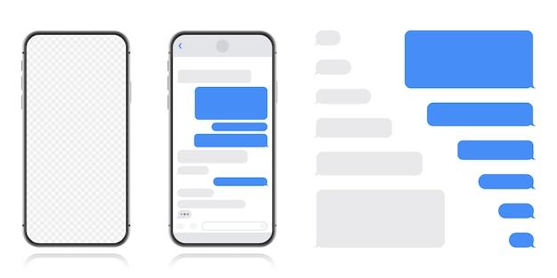 Smart phone con schermata di chat di messenger. bolle modello sms per dialoghi di composizione. stile piatto illustrazione moderna.