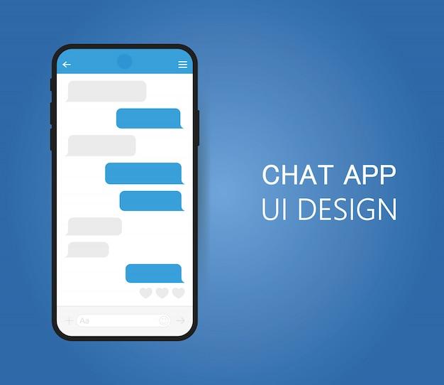 Smart phone con schermata di chat di messenger.