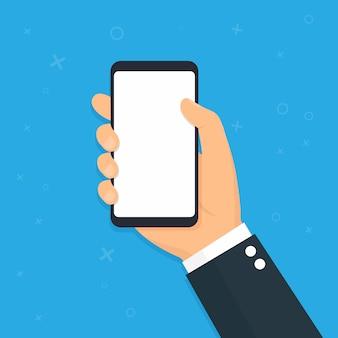 Smart phone della holding della mano. design piatto. illustrazione di vettore