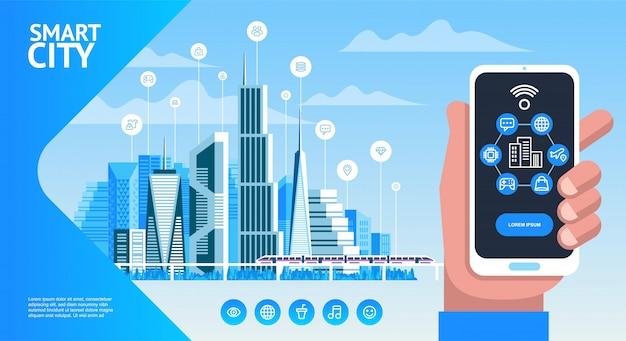 Smart phone della tenuta della mano con connessione di rete