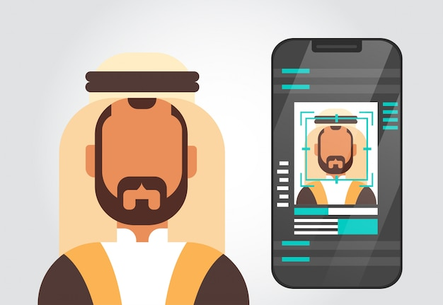 Smart phone security system scanning muslim man user identificazione biometrica concept face recogniti