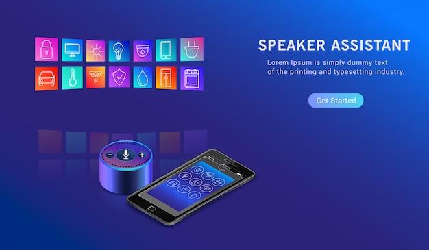 Smart speaker assistant per il controllo della casa intelligente. assistente vocale intelligente ivr attivato.