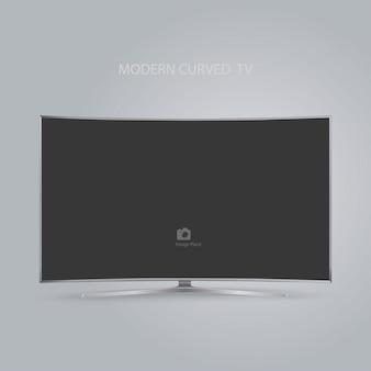 Smart tv curvo serie tv hd isolato su grigio