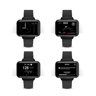 Smart watch con display digitale illustrazione set
