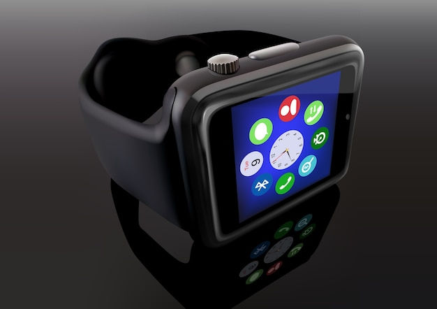 Smart watch su sfondo riflettente
