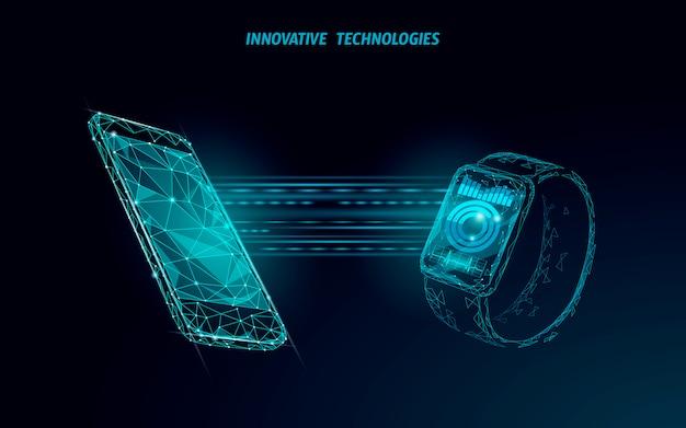 Smart watch touch screen concetto di tecnologia moderna. app di monitoraggio poligonale bassa. grafico dei media di connessione di rete dei dispositivi sanitari.