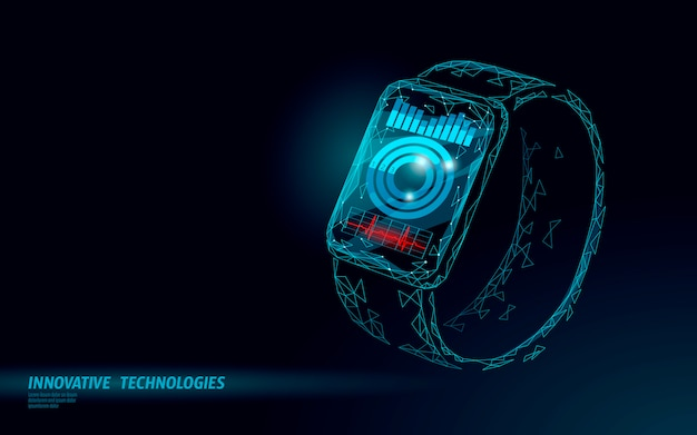 Smart watch touch screen concetto di tecnologia moderna. app di tracciamento sport poligonale bassa. grafico dei mezzi di comunicazione della rete del dispositivo sanitario.