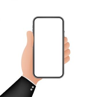 Smartphone a portata di mano. icona del telefono. touchscreen, display del telefono. icona del telefono cellulare. . illustrazione.