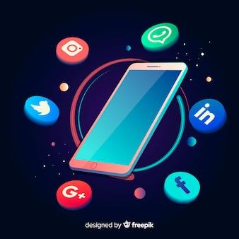 Smartphone antigravità dal design isometrico