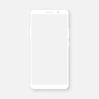 Smartphone bianco morbido mock up con schermo trasparente su bianco