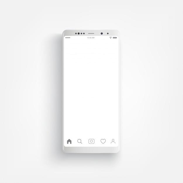 Smartphone bianco realistico moderno. smartphone con stile laterale del bordo, illustrazione di vettore 3d del telefono cellulare.