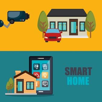 Smartphone che controlla casa intelligente