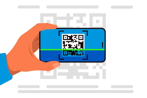 Smartphone che esplora concetto dell'illustrazione di codice del qr