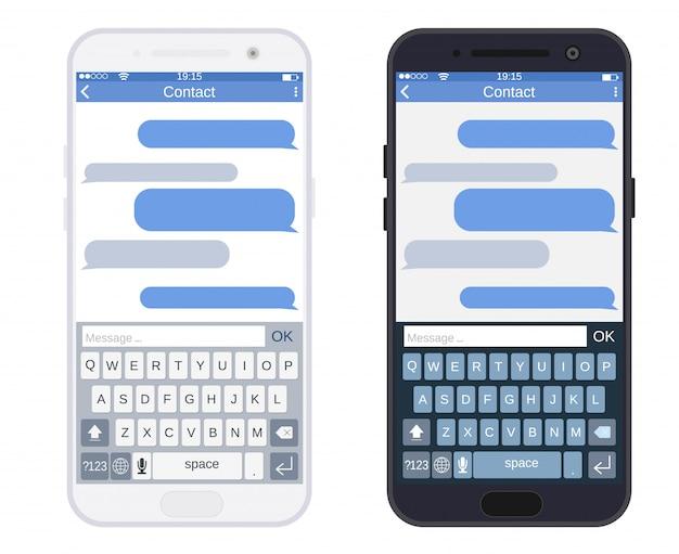 Smartphone con app di messaggistica sms,