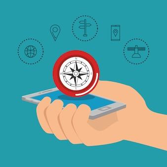Smartphone con app di navigazione gps