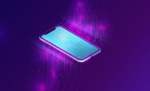 Smartphone con banner isometrico flusso di grandi quantità di dati