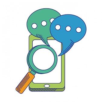 Smartphone con chat bolle e lente d'ingrandimento linee blu