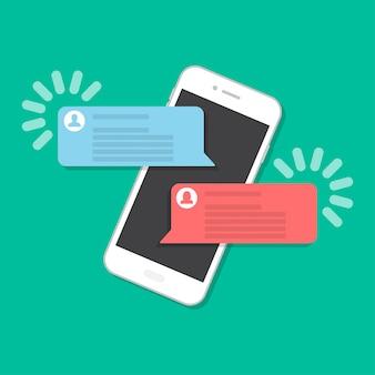 Smartphone con chat in uno stile piatto