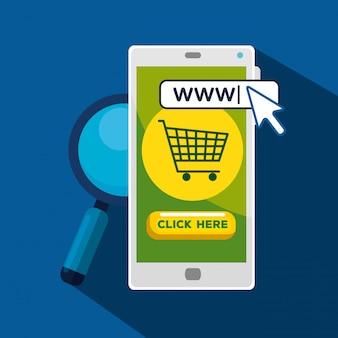 Smartphone con cursore puntatore a freccia e barra di ricerca