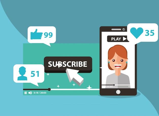 Smartphone con donna sullo schermo iscriviti come segui l'amore