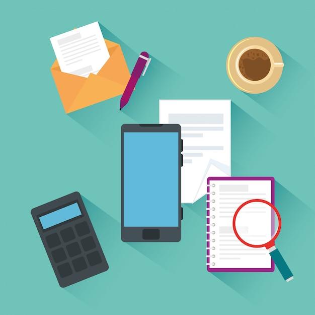 Smartphone con elementi per ufficio