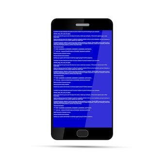 Smartphone con errore bsod isolato su bianco. arresto anomalo del sistema operativo.