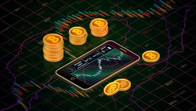 Smartphone con grafico di cassa bitcoin, oro monete bitcoin monete concetto isometrico. affari g
