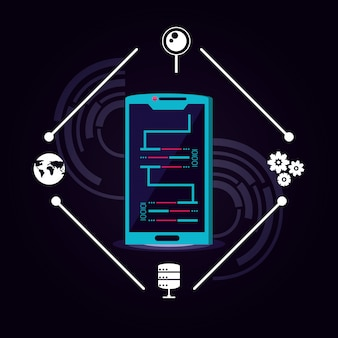 Smartphone con icona del data center