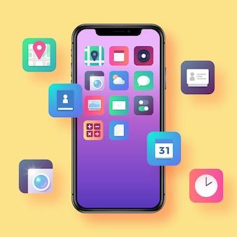 Smartphone con icone di app