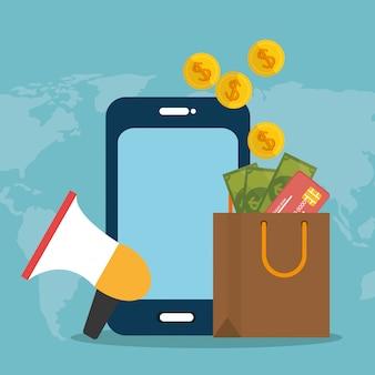 Smartphone con icone di commercio elettronico