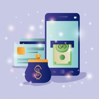 Smartphone con icone di e-commerce