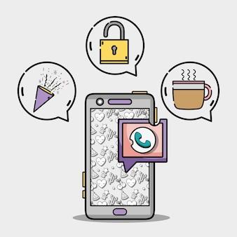 Smartphone con icone di messaggio bolla chat