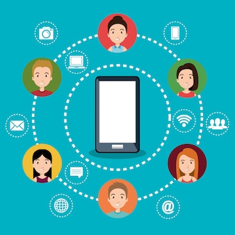 Smartphone con icone di social network