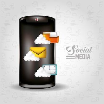 Smartphone con icone social media