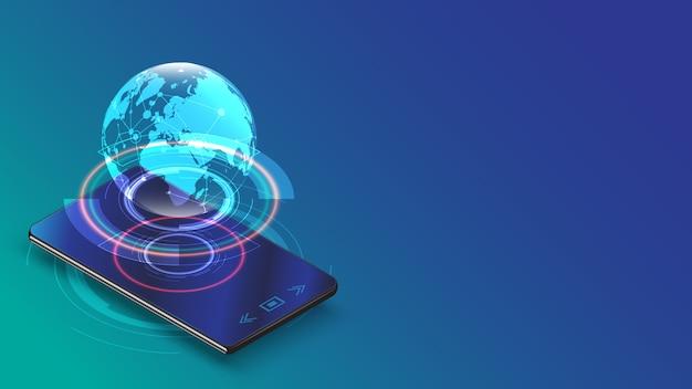 Smartphone con il concetto di collegamento della rete digitale della terra dell'ologramma