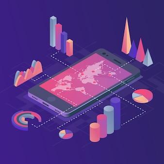 Smartphone con infografica aziendali.