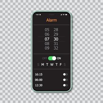 Smartphone con interfaccia di allarme mockup.
